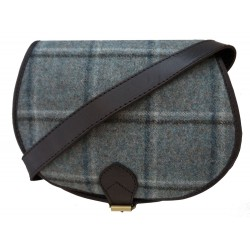Black Leather and Yorkshire wool Saddle Handbag - Blue and green large check