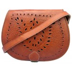 Cutwork and  Embossed Leather Saddle Handbag - Tan