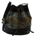 Black Leather and Yorkshire Wool Drawstring Bag - Blue and green large check