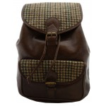 Brown Leather and Yorkshire Wool Rucksack - Green and Brown dogtooth check