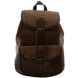 Brown Leather and Yorkshire Wool Rucksack - Red and Brown dogtooth check