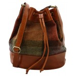 Tan Leather and Yorkshire Wool Drawstring Bag - Rust and green large check