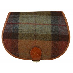 Tan Leather and Yorkshire wool Saddle Handbag - Rust and green check