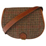 Tan Leather and Yorkshire wool Saddle Handbag - Red and Brown dogtooth check