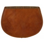 Tan Leather and Yorkshire wool Saddle Handbag - Herringbone check