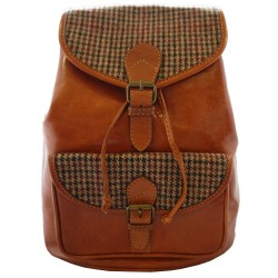 Tan Leather and Yorkshire Wool Rucksack - Red and Brown dogtooth check