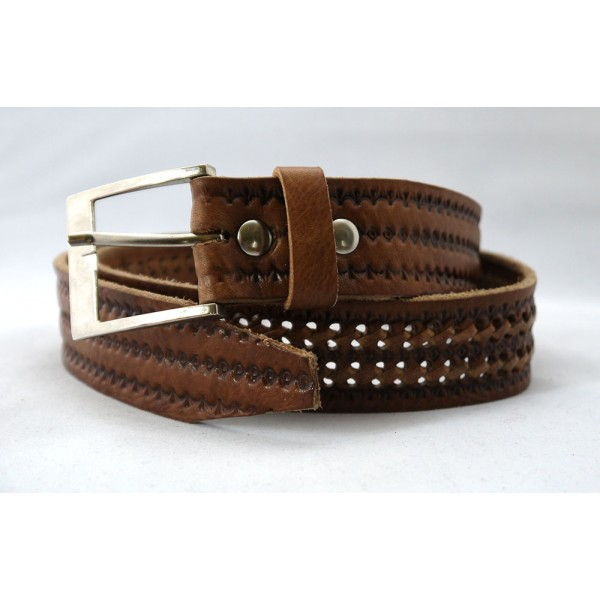 Hand tooled and woven mid brown leather belt for men
