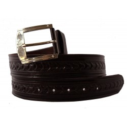 Hand tooled embossed dark brown leather belt for men