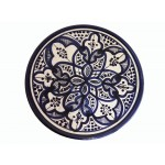 Hand painted blue, white, medium plate/dish