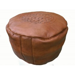 Leather Pouffe - Brown tan and orange tan