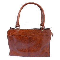 Premium Leather Zipped Top Smart Bag - Tan