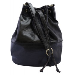 Premium Leather Drawstring Bag - Black