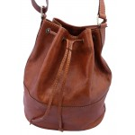 Premium Leather Drawstring Bag - Tan or Black