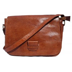 Premium Leather Square Saddle Bag - Tan
