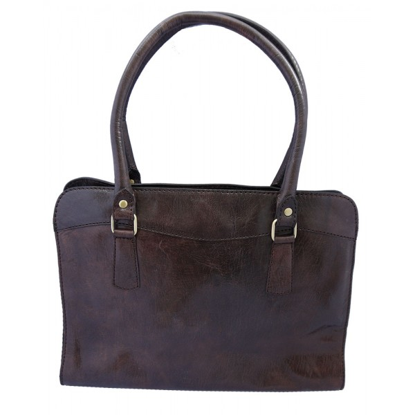 Premium Leather Zip Top Smart Bag - Brown