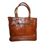 Premium Leather Buckle Front Tote - Tan