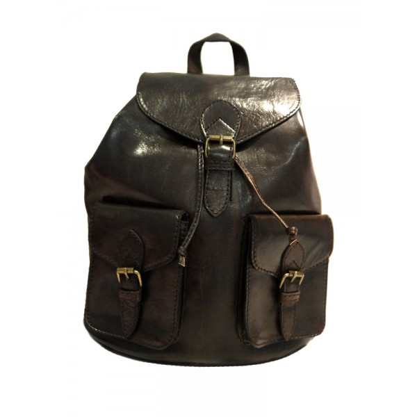 Premium Quality Leather Rucksack - Brown