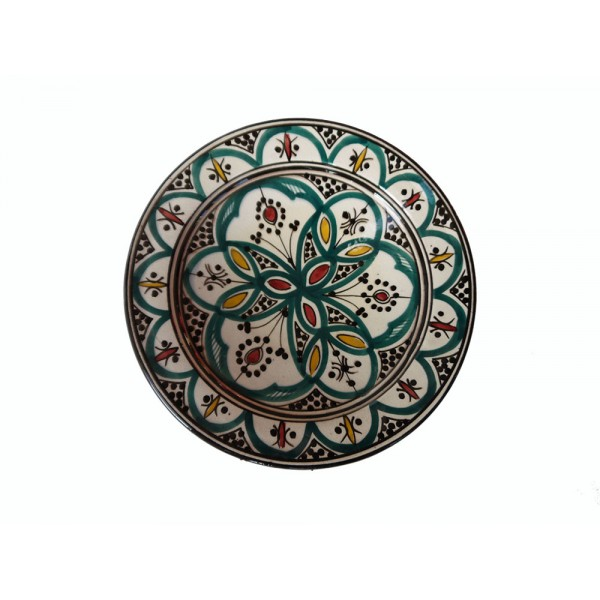 Hand painted green, black, red, small plate/dish
